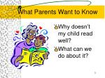 what parents want to know