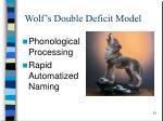 wolf s double deficit model
