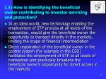 i 3 how is identifying the beneficial owner contributing to investor servicing and protection