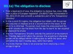 iii 1a the obligation to disclose