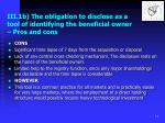 iii 1b the obligation to disclose as a tool of identifying the beneficial owner pros and cons