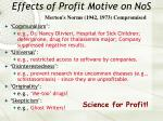 effects of profit motive on nos