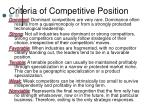 criteria of competitive position