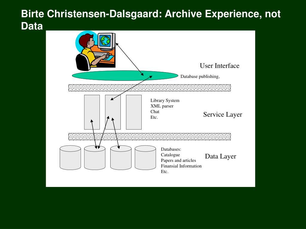 Birte Christensen-Dalsgaard: Archive Experience, not Data