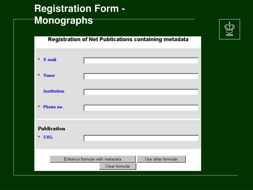 Registration Form - Monographs