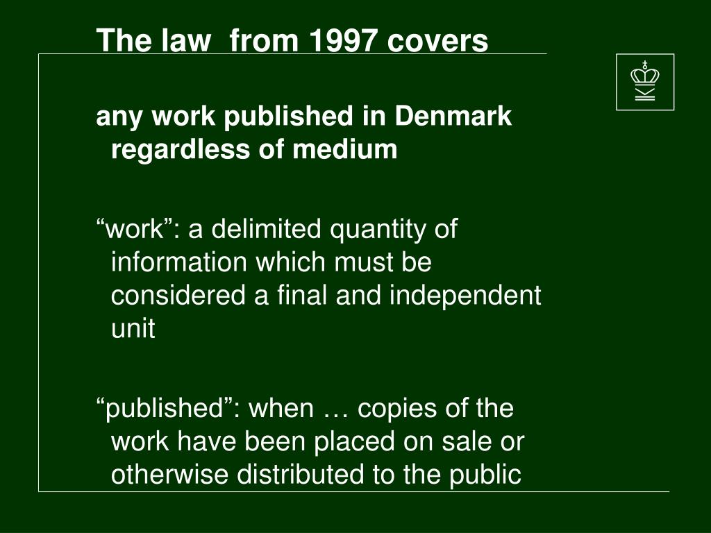 The law  from 1997 covers