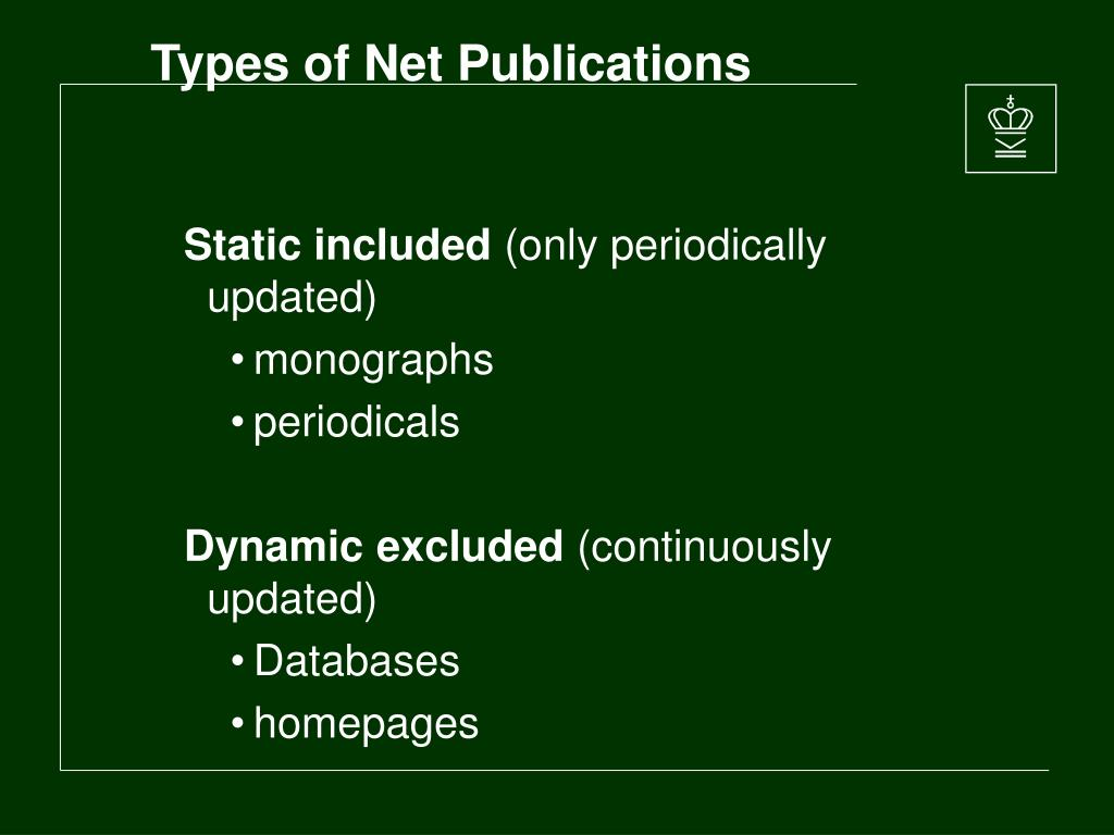 Types of Net Publications