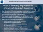 guide on estimating requirements for internationally controlled substances