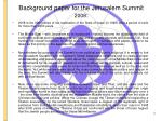 background paper for the jerusalem summit 2008