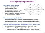 unit capacity simple networks