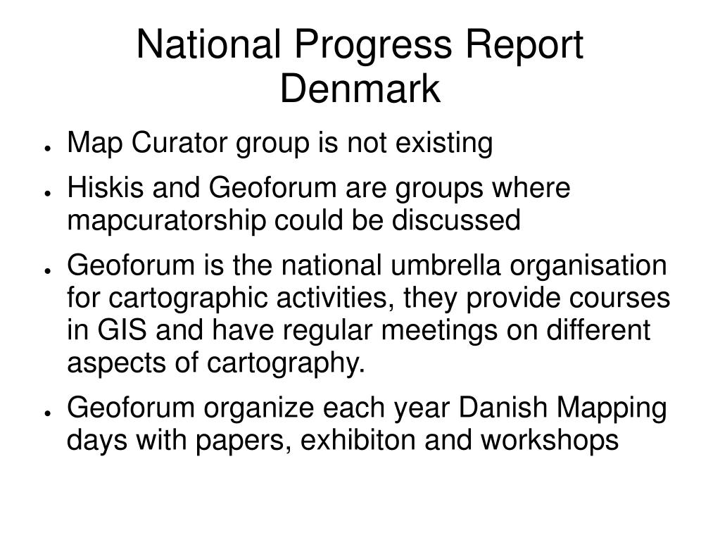 National Progress Report