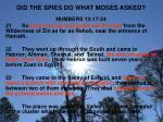 did the spies do what moses asked