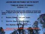 jacob and his family go to egypt