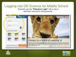 logging into de science for middle school