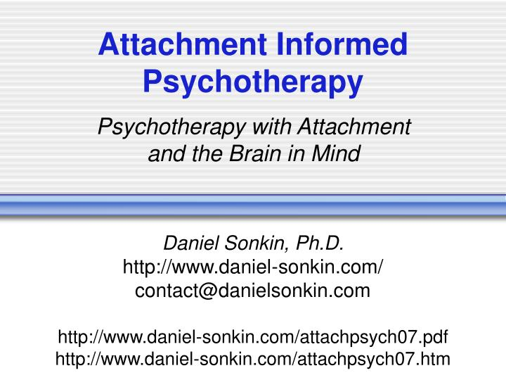 attachment informed psychotherapy n.