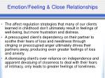 emotion feeling close relationships