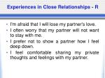 experiences in close relationships r