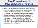 five prepositions of psychodynamic theories