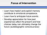 focus of intervention