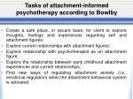 tasks of attachment informed psychotherapy according to bowlby