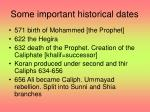 some important historical dates