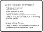 select relevant information