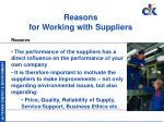 reasons for working with suppliers