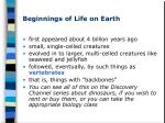 beginnings of life on earth