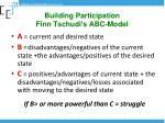 building participation finn tschudi s abc model