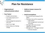 plan for resistance