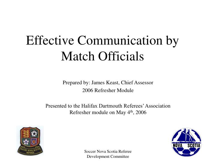 effective communication by match officials n.