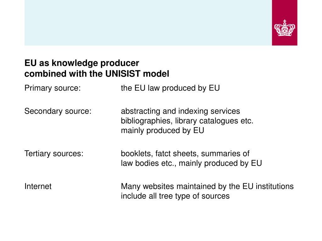 EU as knowledge producer