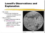 lowell s observations and explanation