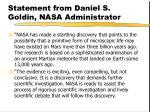 statement from daniel s goldin nasa administrator