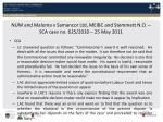 num and maloma v samancor ltd meibc and stemmett n o sca case no 625 2010 25 may 2011