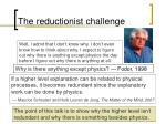 the reductionist challenge