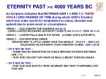 eternity past 4000 years bc