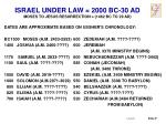 israel under law 2000 bc 30 ad moses to jesus resurrection 1462 bc to 29 ad