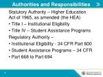 authorities and responsibilities