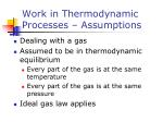 work in thermodynamic processes assumptions