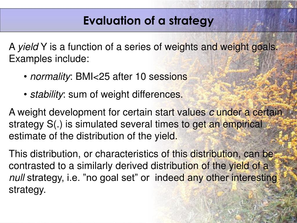 Evaluation of a strategy