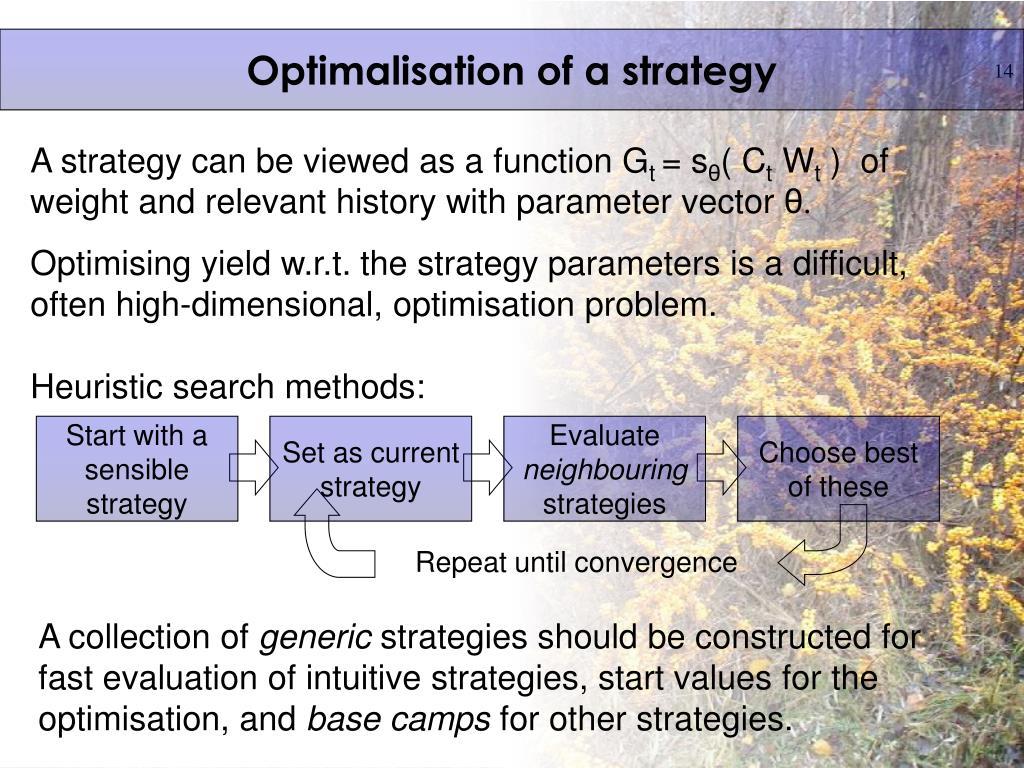 Optimalisation of a strategy