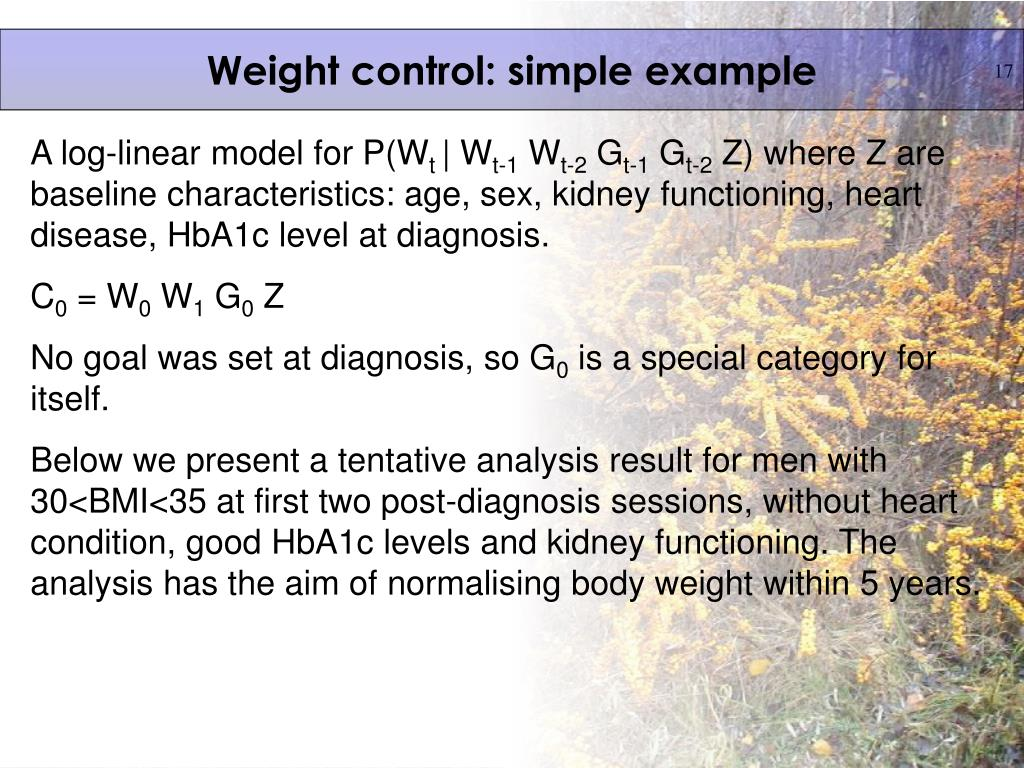 Weight control: simple example