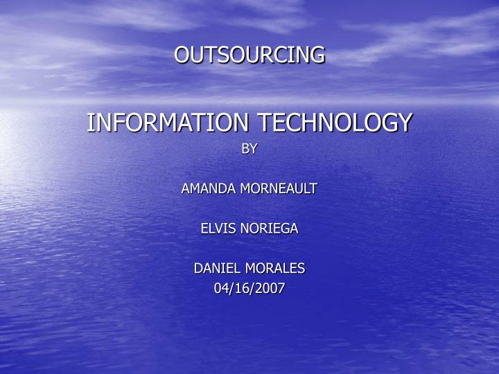 outsourcing n.