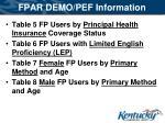 fpar demo pef information