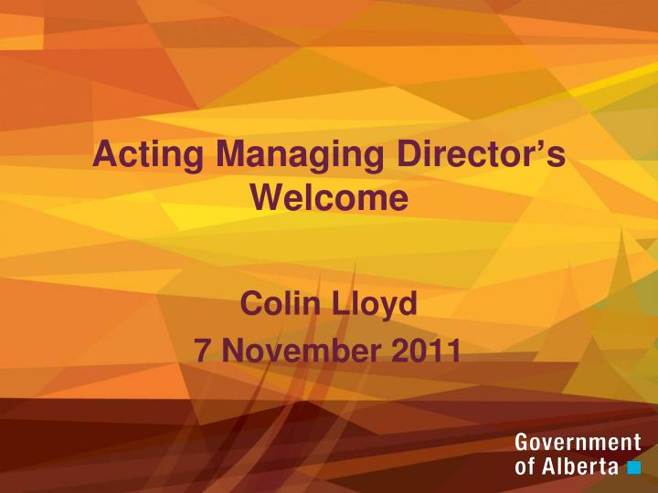 acting managing director s welcome n.