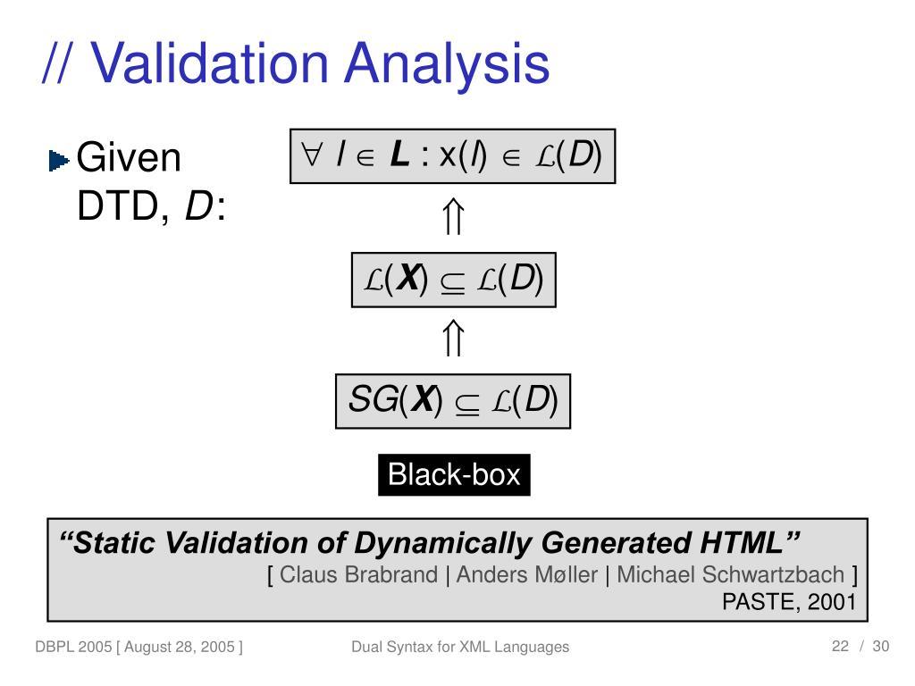 // Validation Analysis