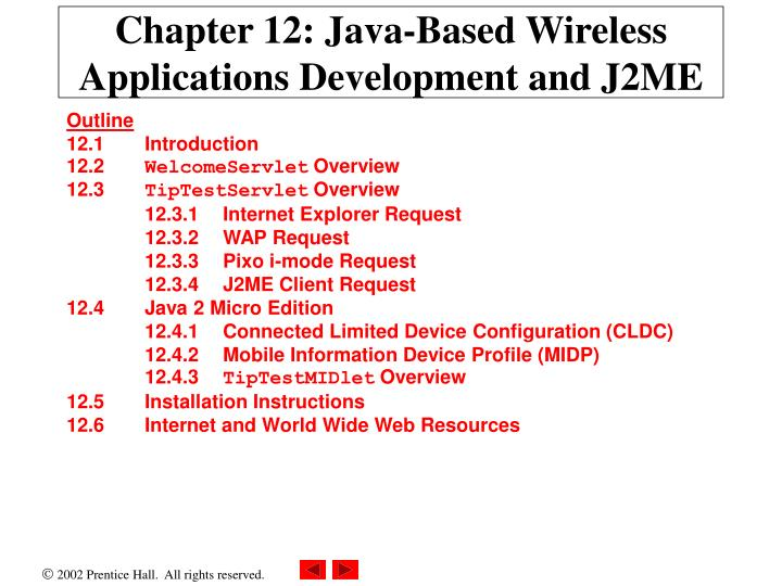 chapter 12 java based wireless applications development and j2me n.
