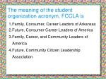 the meaning of the student organization acronym fccla is