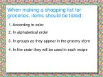 when making a shopping list for groceries items should be listed